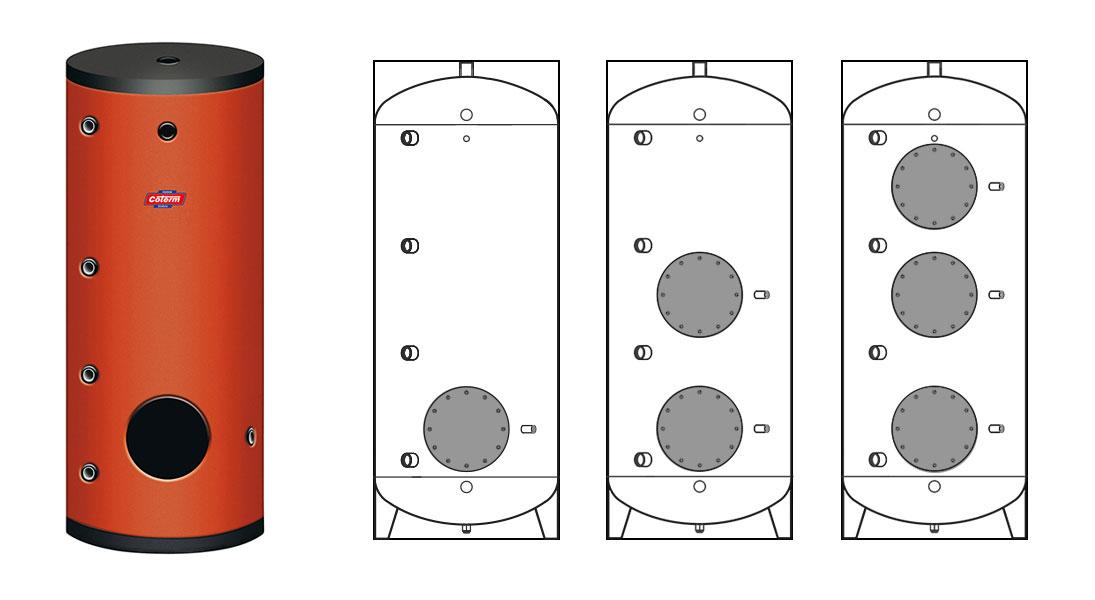 Bollitori-boilers BFP - con 1 - 2 - 3 flange per scambiatori a spirale estraibili