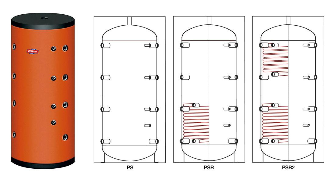 Bollitori-boilers PS - PSR - PSR2 - con 0 - 1 - 2 serpentine